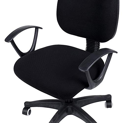 (Smiry Stretch Jacquard Office Computer Chair Seat Covers, Removable Washable Anti-dust Desk Chair Seat Cushion Protectors - Black)