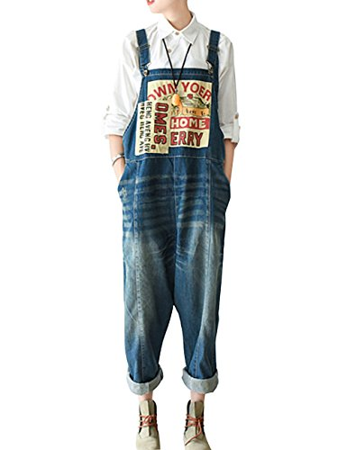 Yolee Women's Big Crotch Denim Bib Overall Style Two Blue