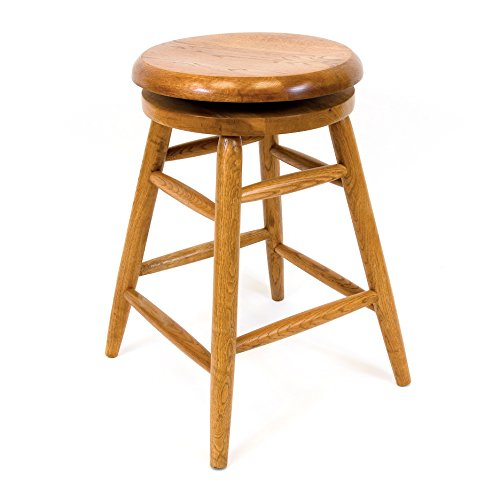 Solid Medium Oak Backless Saddle Swivel Bar Stool 24 Inches