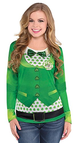 Amscan Women's St. Patrick's Day Bowtie Long Sleeve Dye Sub Shirt (1 Piece), Green, Large/X-Large - Womens St Patricks Day Costumes