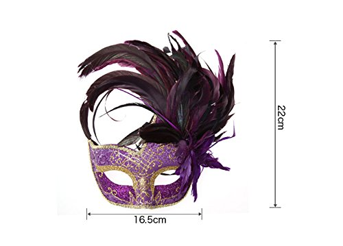 Venetian Masquerade Party Half Mask Feather Eye Mask Lace Princess Mask (Blue) by AngelGift (Image #3)