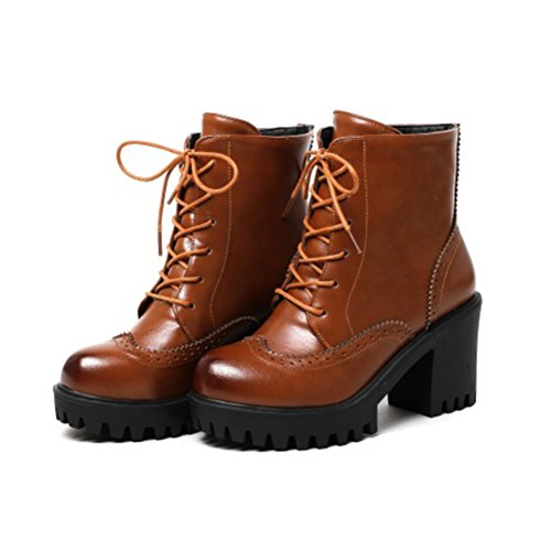 Agodor Womens Platform Lace up High Block Heel Ankle Boots Retro Carved Classic Shoes Brwon Q4nPSKzpRw