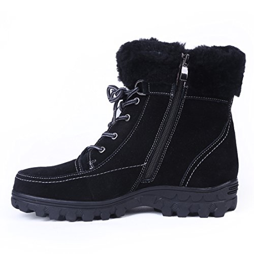 Winter Titan Bull Women's 1 Fur Comfortable Black Zippered Lined Boots Pg4Z4qwCx
