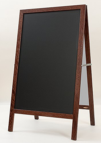 A-Frame Sandwich Board 42''h x 24''w Black Ceramic Steel Chalkboard with Dark Walnut Frame