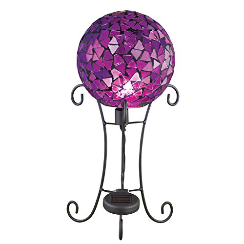 Collections Etc Mosaic Solar Gazing Ball with Pedestal Stand Garden Decoration