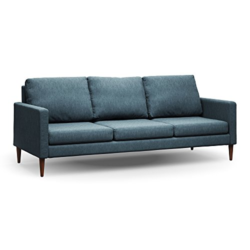 Campaign 86-Inch Steel Frame Brushed Weave Sofa, Meridien Blue with Mahogany Stained Solid Oak (Modern Oak Sofa)