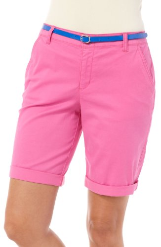 Bandolino Jeans Women's Solid Bermuda Shorts with Reversible Belt (8) (Solid Bermuda)