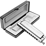 Anwenk Harmonica Chromatic Harmonica Key of C 10 Hole 40 Tone with Case for Professional Player Adult Beginner Students, Excellent Gift for Music Fan (Swan)- Silver Best Music Gift