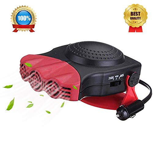 Portable Car Heater,2-in-1,12V 150W  Heater for Car Defroster ,30 Seconds Fast Heating Vehicle Heater ,Windshield Defroster that Plugs Into Cigarette Lighter Car Defogger Heater Cooling Fan 3-Outlet ()