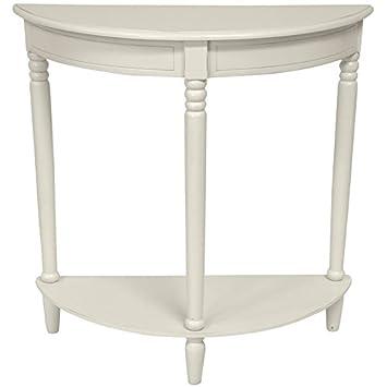 Oriental Furniture 31u0026quot; Half Round Console Table   White