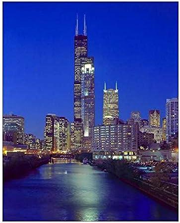 Lighting at CHICAGO SKYLINE Glossy 8x10 Photo Sears Tower Print Art Poster Dark