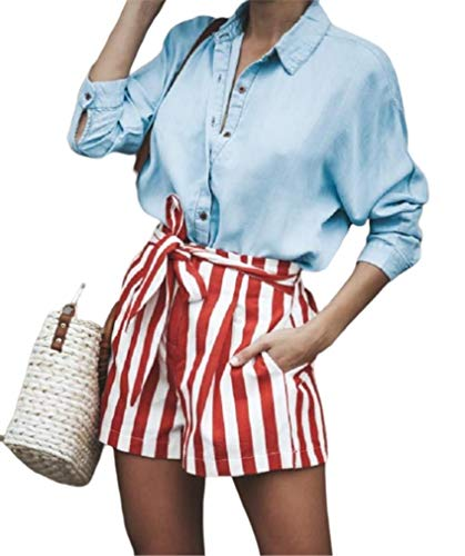Abetteric Women's Belted Casual Stripes Classics Pork Chop Pocket Panties Red XS ()