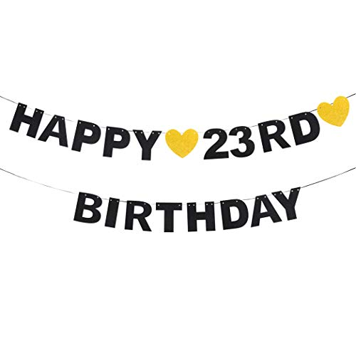 Happy 23rd Birthday Black Glitter Paper Letter Banner Pennant Sweet Gold Glitter Heart Cheers to Twenty-three Years Old Bday Fabulous Anniversary Party Event Funny Hanging Ornament Decoration Gift.]()