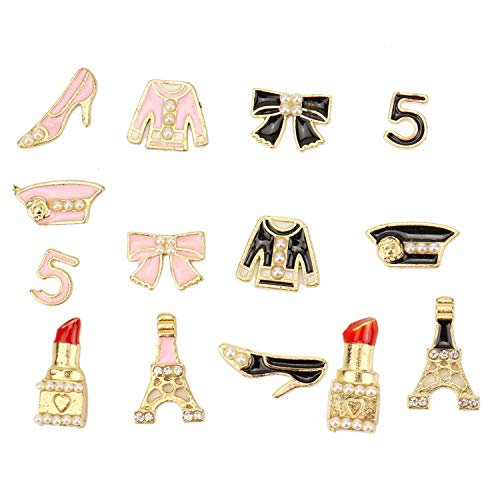 JETEHO 4 Sets/ 28pcs Phone Case Ornaments Charms DIY Scrapbooking Embellishments for Cell Phone Bag Clothes Decals (Pink and Black)