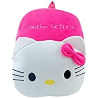 DZert Soft Plush Fabric Multicolour Hellokitty Printed School Bag for Baby Boys and Girls