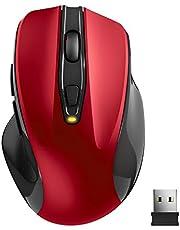 TedGem Kabellose Maus, Funkmaus 2.4G USB Wireless Maus, Tragbar Laptop Drahtlose Maus mit 6 Tasten, 5 einstellbare DPI 2400/2000/1600/1200/800 für Laptop & PC, kompatibel mit Microsoft & macOS, Rot