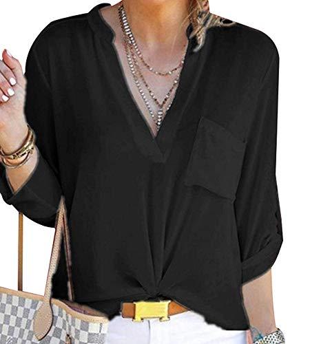 V Mousseline Col Keephen Blouse De Chemises Soie 3 Noir Femmes en StRxtf0