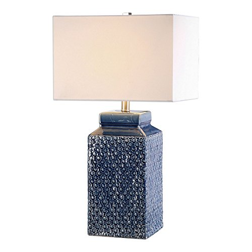 Uttermost 27229-1 Pero - One Light Table Lamp, Textured/Sapphire Blue Glaze/Brushed Nickel Finish with White Linen Fabric Shade