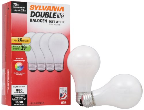 Long Life Standard Screw Base (Sylvania 50045 Double Life Soft White Halogen 53W Replacement for 75W Incadescent Lightbulbs)