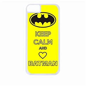 Keep Calm and Love Batman - Hard White Plastic Snap - On Case with Soft Black Rubber Lining-Apple Iphone 5c Only - Great Quality!