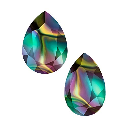 (Swarovski Crystal, 4327 Pear Fancy Stone 30x20mm, 1 Piece, Crystal Rainbow Dark F)