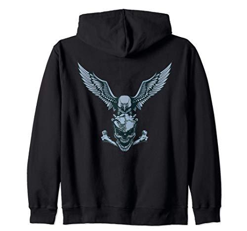 (Bald Eagle & Skull / Crossbones Zip Hoodie)