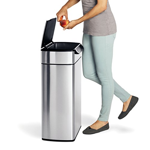 simplehuman 40 liter 10 6 gallon stainless steel touch bar kitchen trash can brushed. Black Bedroom Furniture Sets. Home Design Ideas