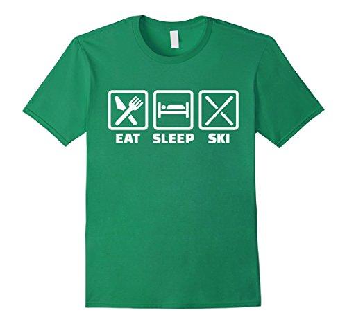 Mens Eat sleep ski T-Shirt Medium Kelly ()