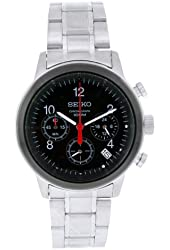 Seiko Men's SSB011 Stainless Steel Analog with Black Dial Watch