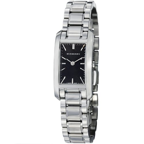 Burberry Check Engraved Rectangle Ladies-small Black Dial Stainless Steel Watch BU9501 by BURBERRY