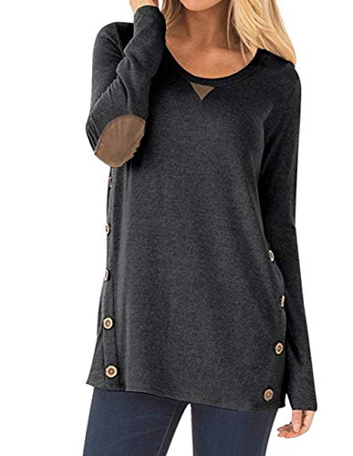 Women's Long Sleeve Casual Scoop Neck Button Side Shirt Blouse Tunic Top