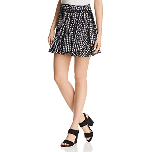 Rebecca Minkoff Womens Alice Eyelet Faux Wrap Mini Skirt B/W S Black/White ()