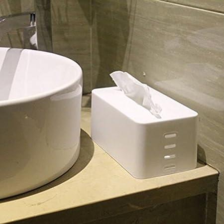 Lovely Waterproof Tissue Boxes Napkin Holder Rectangular adjustable lifting Plastic Tissue box Cover (White)