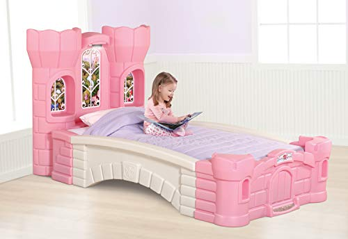 Step2 Princess Palace Twin Bed for Girls - Kids Durable Plastic Platform Bed with Headboard, Mattress Support Board and Built-in Light, Pink/White
