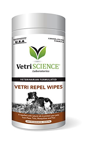 VetriScience Laboratories Vetri Repel, Natural Flea and Tick Repellant for Cats and Dogs, 60 Wipes by VetriScience Laboratories