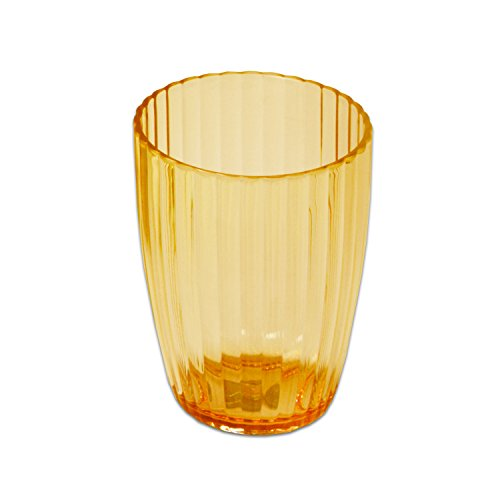 Sweet Home Collection Ribbed Acrylic Bathroom Durable Scratch Resistant Modern Set or Individual Bath Accessories, Tumbler Orange