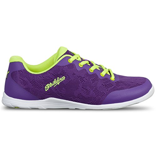 Bowling Shoe Yellow (KR Strikeforce Women's Lace Bowling Shoes, Purple/Yellow, Size 10)