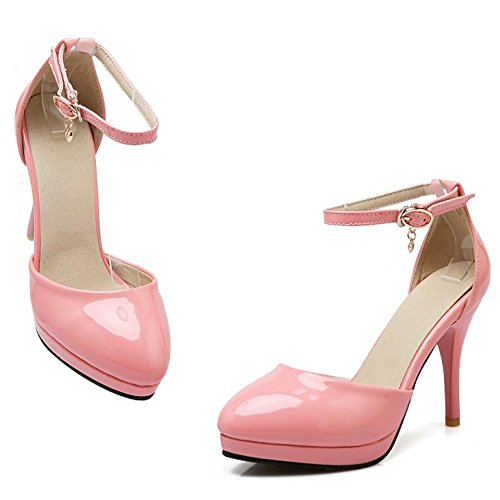 Strap Ankle Pumps Patent Pink Women RizaBina Fashion Heels F8Avtqwq