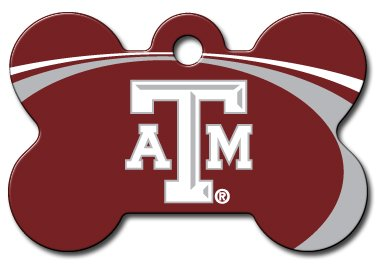 Personalized Laser Engraved 1.5 x 1 inch Texas A&M Aggies Bone Shape Pet ID Tag - Free Tag Silencer