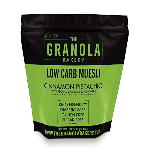 Granola Bakery - Cinnamon Pistachio Low Carb Muesli Granola - 4g Net Carb, 10.6Oz Bag - Sugar Free Keto Oatmeal Cereal, Gluten Free, Diabetic Friendly (Cereals With No Added Sugar Or Salt)