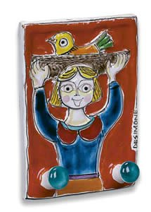Hand Painted De Simone Double Hook with Girl - Handmade in Sicily