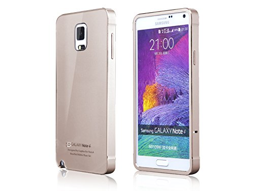 Generic Aluminum Metel Back Frame Add Acrylic Back Cover for Samsung Galaxy Note 4 , Gold