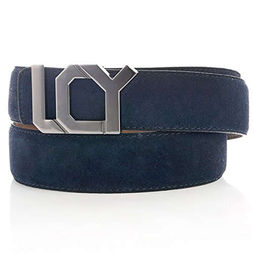 [Navy Suede Leather Belts for Men with Smart Plate Buckle 35mm 35mm 44 Blue] (Suede Leather Belt Strap)