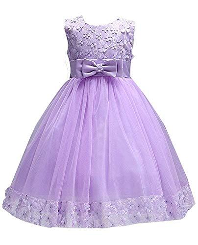 Ball Gowns for Girl Size 7-16 Princess Elegant 3-4 Years Old Lavender Flower Girl Dresses for Girls Lavender Size 4 6 Beauty Cute Sleeveless Little Kids Children Toddler Girl Dress (Purple 100) -