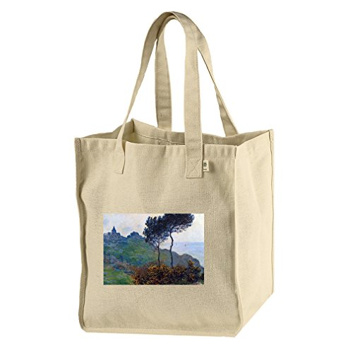 Church At Varengeville (Monet) Hemp/Cotton Canvas Market Bag Tote by Style in Print