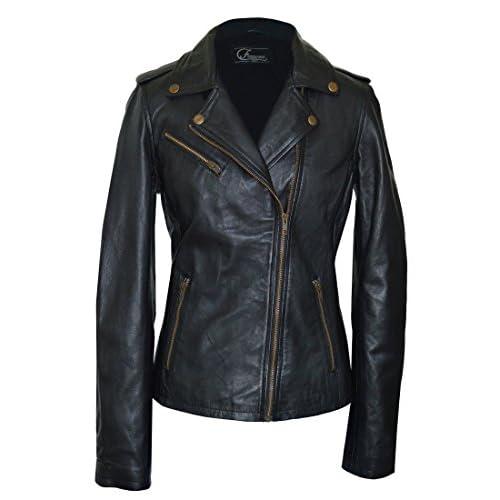 Top Faneema Riva Moto Lambskin Leather Jacket for Women, Black for sale