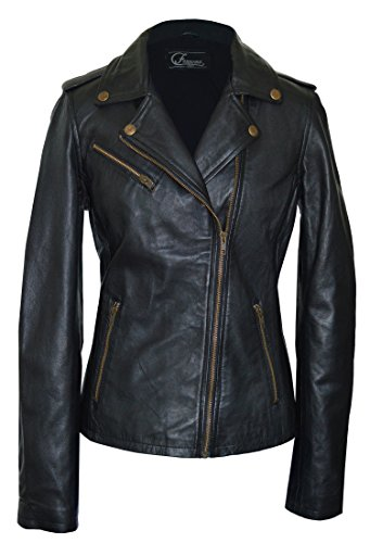 Faneema Women's Riva Moto Leather Jacket, Black (Medium) by Faneema