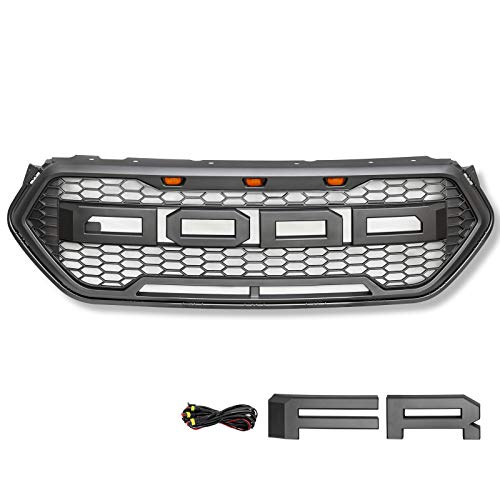 Modifying LED Grille Grill Front Bumper for 2016 2017 2018 Ford Escape Raptor Sport Honeycomb Grill with Amber Light (Grey)