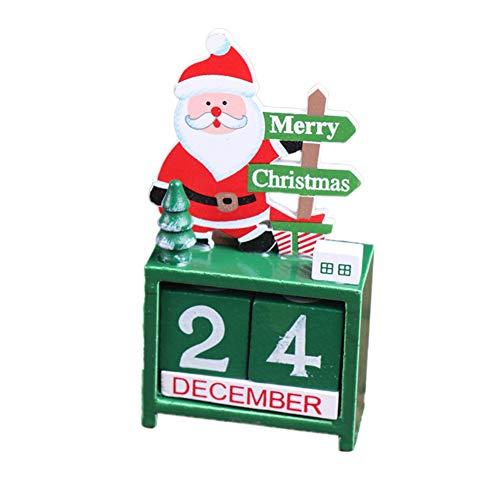 [해외]Hankyky Wood Christmas Advent 캘린더 산타 눈사람 순록 카운트다운 캘린더 페인트 블록 테이블 장식 장식품 크리스마스 장식품 / Hankyky Wood Christmas Advent Calendar Santa Snowmen Reindeer Countdown Calendar with Painted Blocks Tableto...