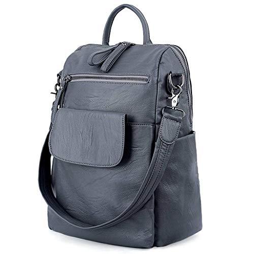 Ladies Grey Women Washed Backpack UTO Shoulder Bag Purse Rucksack PU Leather fWFxSHn